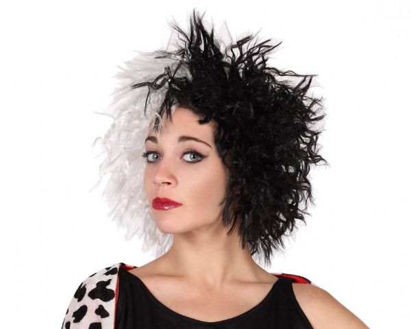 Hair Wig Female Black & White Cruel Nasty Halloween Villian